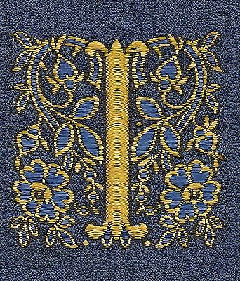 """Vintage/antq woven silk embroidered - Letter """"I"""" - use in crazy quilt applique"""