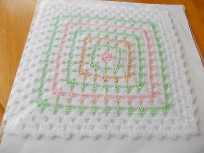 Large Crocheted  Blanket With Green Pattern No.1 For A Dolls House