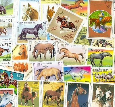 Horses on Stamps collection of 200 all different-lovely selection-medium/large