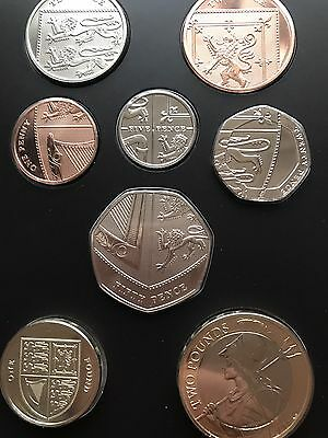Rare 2016 Shiled Pound Coin And Shield 50p Coin Royal Mint Bunc......