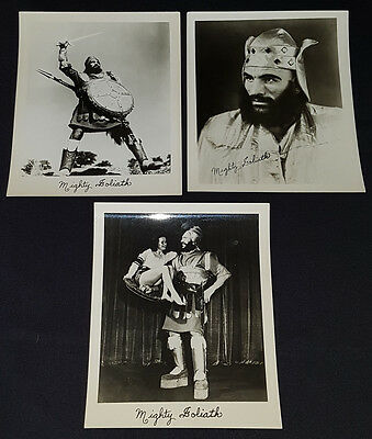 1950's - WRESTLING / WRESTLERS - MIGHTY GOLIATH - ORIGINAL - PHOTOS - (3)