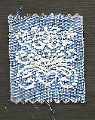Vintage/antique early 1900s woven silk applique-use in crazy quilt: blue #1