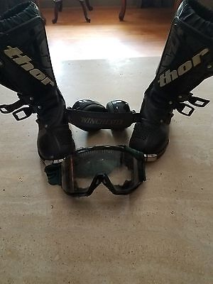 Thor Motocross Boys Size 13 Boots  with Winchester Ear Guards
