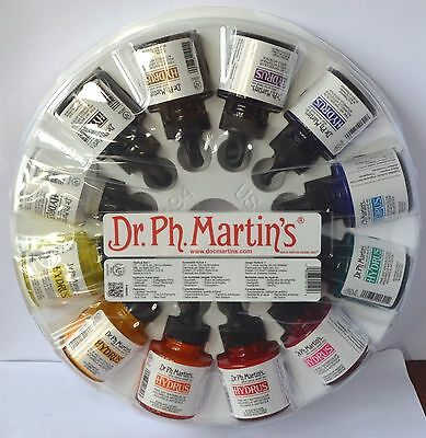 Dr. Ph. Martins Hydrus Ink Fine Art Watercolor, 1.0 oz, Set of 12 Set 1, New