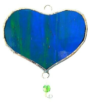 Blue green Heart stained glass suncatcher bead drop birthday gift