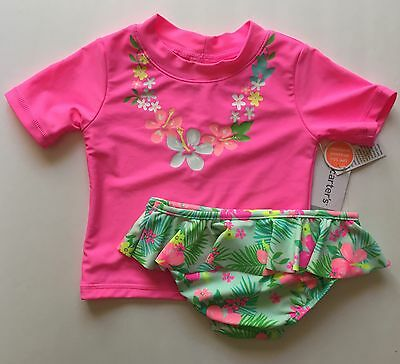 Carter's Baby Girls 2-Piece Rashguard Set Bathing Suit Tropical Pink 50+ UPF NWT