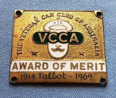 Rare Vcca Veteran Car Club Of Australia Award Of Merit Dashboard Badge