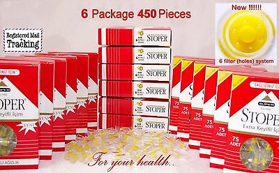 450 Pieces!!! Cigarette Filters - Tar Blocking -  Stoper Tar Gard 75 X 6 Packs