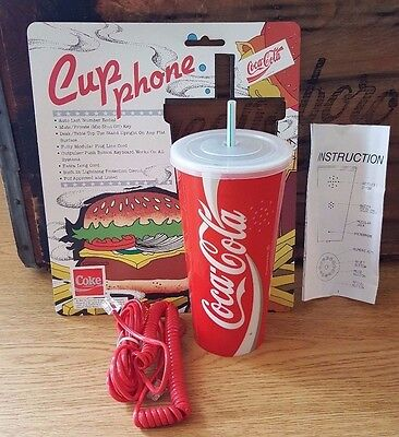 VTG 1986 Coca Cola Coke Cup Phone Telephone w Card Cord Instructions Works!