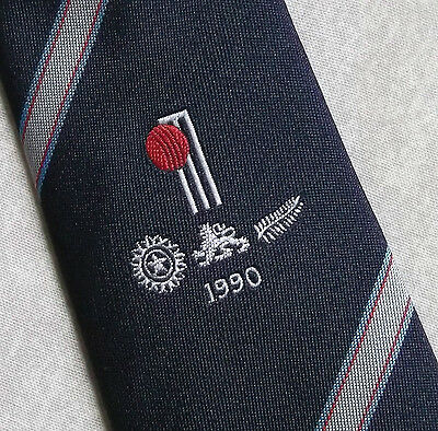 Cricket Tie Official Tccb Cornhill Insurance New Zealand India Tour 1990 Navy