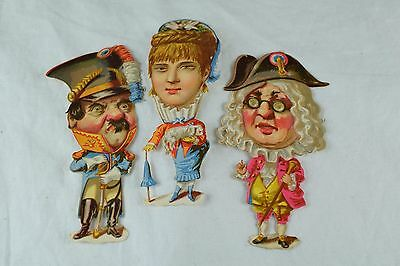 Lot of 3 French Revolution Victorian Die-Cuts Lady & Men Big Heads Fabulous! F71