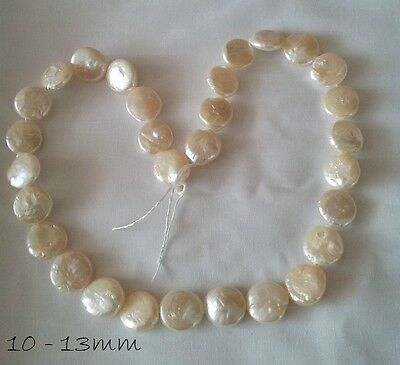 White Freshwater Cultured Pearl Coin Bead Strand 10-13mm