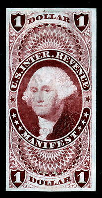 US R72TC3 $1 Manifest Revenue Trial Color India Proof VF SCV $80 (-001)