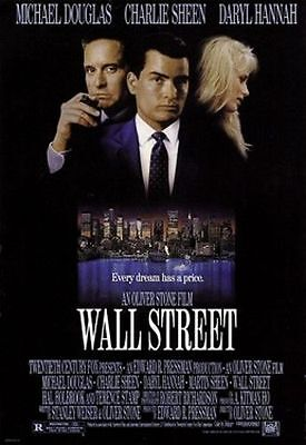 Wall Street Original Rolled Movie Poster 1987 Michael Douglas Charlie Sheen Nyse