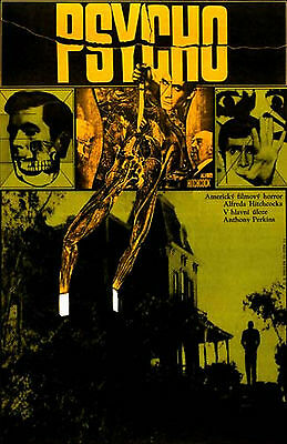 PSYCHO Amazing Rare Original Czech Poster ALFRED HITCHCOCK ANTHONY PERKINS