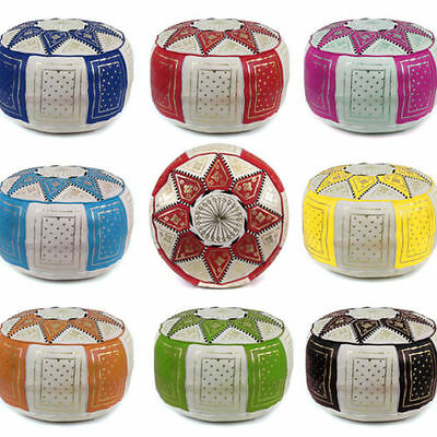 POUF Ottoman real LEATHER HANDMADE Moroccan POUF Poof & FOOTSTOOLS for all Rooms