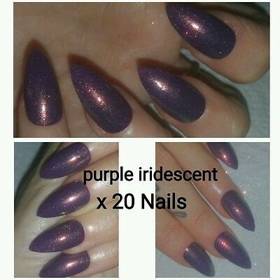 Dark Purple With Subtle Mermaid Shimmer Stiletto False Nails x 20