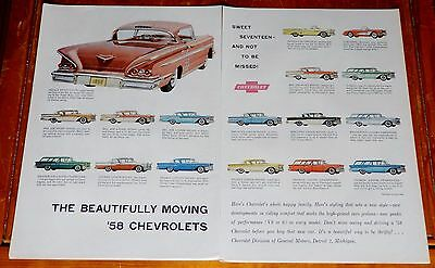 1958 Chevy Impala Bel Air Biscayne Delray All Models Cool Large Ad - Vintage
