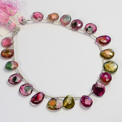 Rare Watermelon Tourmaline Faceted Slice Briolette Beads 8.5 inch Strand