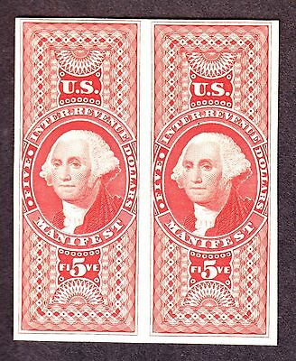 US R90P4 $5 Manifest Plate Proof on Card Pair F-VF NH SCV $110