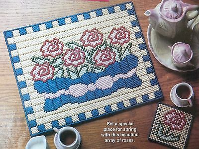 Cabbage Rose Placemat & Coaster  Pattern(s) in Plastic Canvas