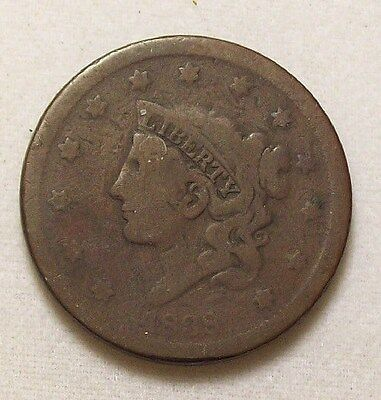 1838 Coronet Head Large Cent ~ G VG  ~ 1c One US Copper Coin