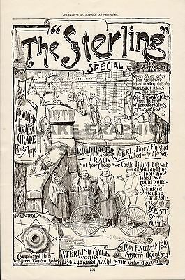 Sterling Cycle Works Vintage Advertisement 1892, Excellent Full Page Bicycle Ad