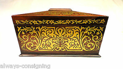 Antique English Tea Caddy~French Boulle Inlaid Brass~Regency~Early 19Th Century