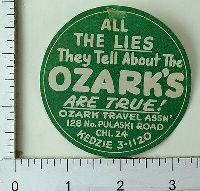Circa 1890's Ozark Travel Early Advertising Luggage Label Poster Stamp F68