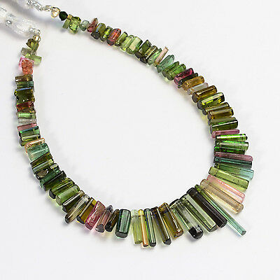 Pink Green Blue Polished Tourmaline Crystal Beads 8 inch strand