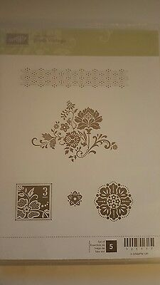 Stampin' Up *FRESH VINTAGE *5 pc Clear Mount Rubber Stamp Set. NEW