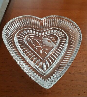 """German Lead Crystal Heart Shaped Bedroom Tray By Anna Hutte 7""""- Excellent"""