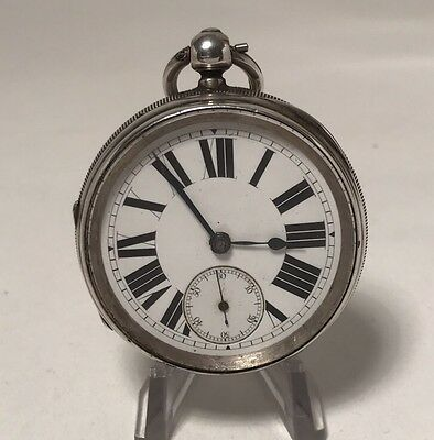 Antique 1887 Very Heavy Solid Silver Fusee Pocket Watch For Repair.