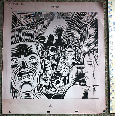 CHARLES BURNS production proof for IGGY POP Brick by Brick (1990) | print POSTER