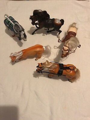 Bundle Of Five Vintage Toy Horses