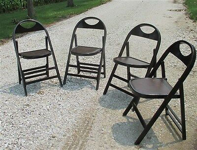 Set of 4 Wood Folding Chairs Church Funeral Home Wedding Concert Patio Picnic a2