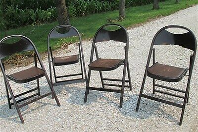 Set of 4 Wood Folding Chairs Church Funeral Home Wedding Concert Patio Picnic a4