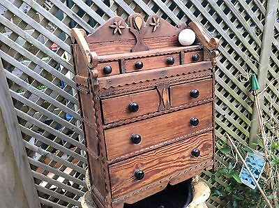 Alpine pitch pine apprentice piece chest of drawers c1900 rare