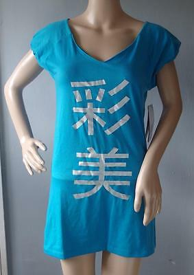 New Asics Women AY S/S Kanji Tee Blue Fitness Top Size Medium 610821 T-Shirt