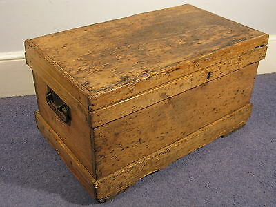 Antique Victorian Vintage Pine Wood Tool Box Blanket Chest Coffee Table C1880