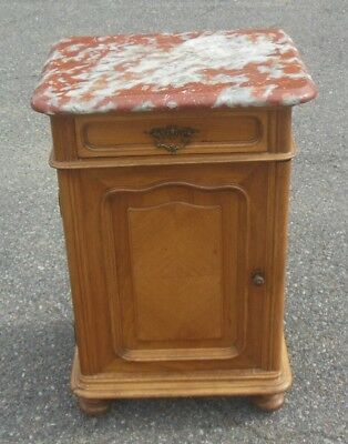 Antique French Walnut Nightstand Cabinet Table Languedoc Marble Top Bun Feet