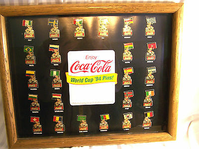 '94 World Cup Soccer Pins Coca Cola Framed Complete Set Of 24 Pins