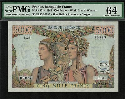 "FRANCE 1949 5000 FRANCS P131a CHOICE UNC PMG 64 - EARLY YEAR SERIES ""a"" !"