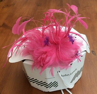 JOHN LEWIS Pink Feather Fascinator Hat Wedding / Races / Occasion NEW