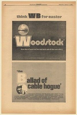 1970 Woodstock The Ballad of Cable Hogue WB Easter Movie Promo Trade Print Ad