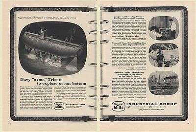 1961 Navy Trieste Bathyscaph General Mills Mechanical Arm 2-Page Print Ad
