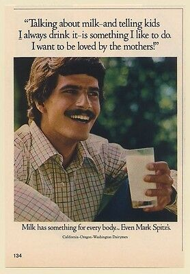 1973 Mark Spitz Drinks Milk I Want to be Loved by Mothers Print Ad