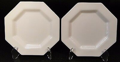 "TWO Independence Ironstone White Castleton Salad Plates 8"" 2 EXCELLENT!"