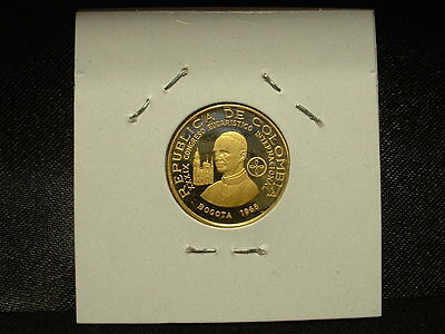 1968 Columbia Gold 100 Pesos Proof Pope Visit-Very Low Mintage W/original Case!