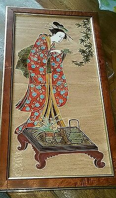 Maw & Co tiled picture beautiful chinese lady,beautiful tiles 44.5cm tall